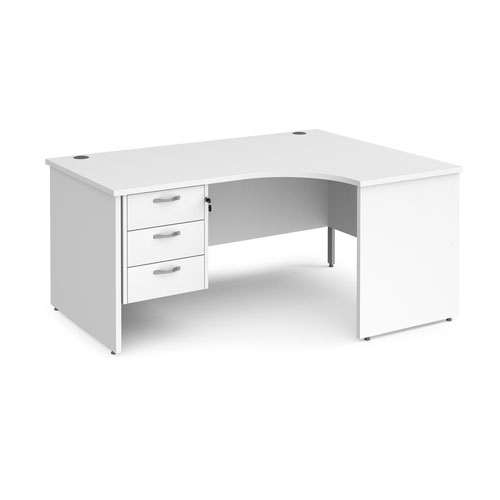 Maestro 25 right hand ergonomic desk 1600mm wide with 3 drawer pedestal - white top with panel end leg