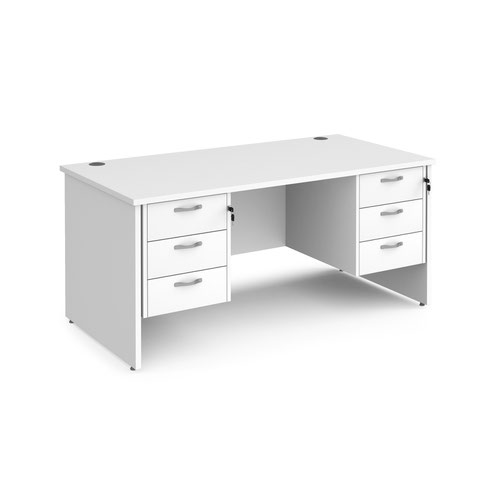 Maestro 25 straight desk 1600mm x 800mm with two x 3 drawer pedestals - white top with panel end leg