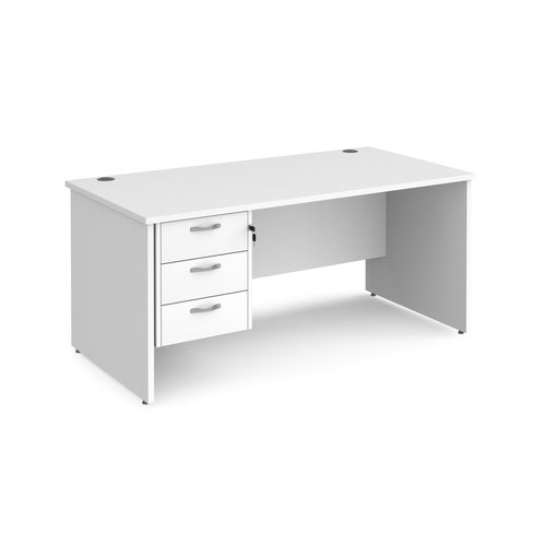 Maestro 25 straight desk 1600mm x 800mm with 3 drawer pedestal - white top with panel end leg