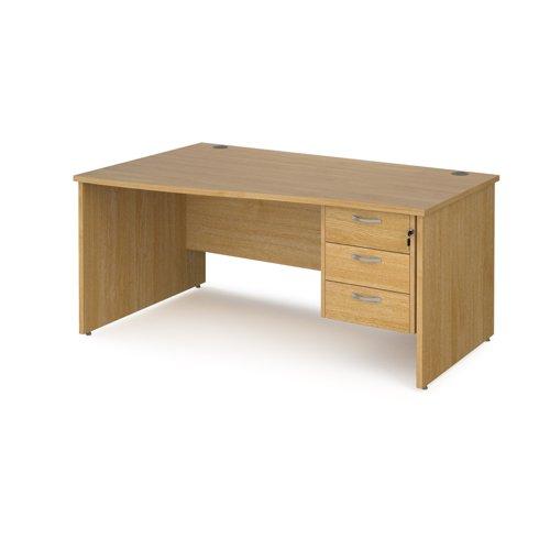 Maestro 25 left hand wave desk 1600mm wide with 3 drawer pedestal - oak top with panel end leg