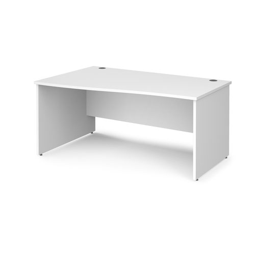 Maestro 25 left hand wave desk 1600mm wide - white top with panel end leg