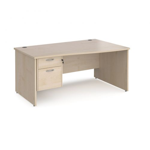 Maestro 25 right hand wave desk 1600mm wide with 2 drawer pedestal - maple top with panel end leg