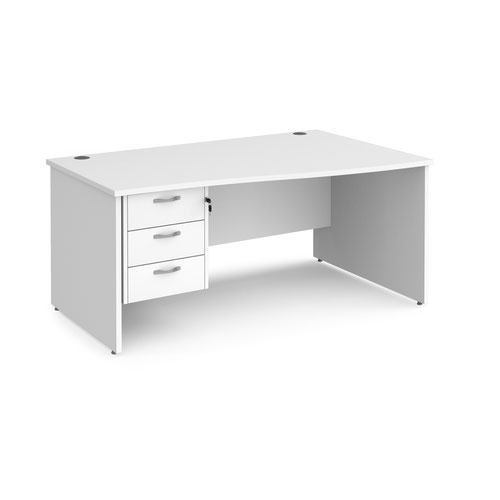 Maestro 25 right hand wave desk 1600mm wide with 3 drawer pedestal - white top with panel end leg