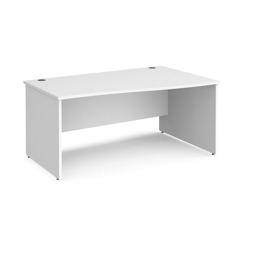 Maestro 25 right hand wave desk 1600mm wide - white top with panel end leg