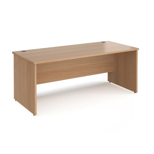 Maestro 25 straight desk 1800mm x 800mm - beech top with panel end leg