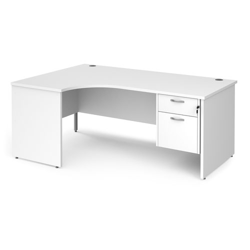 Maestro 25 left hand ergonomic desk 1800mm wide with 2 drawer pedestal - white top with panel end leg