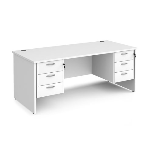 Maestro 25 panel end 800mm deep desk with 2 x 3 drawer peds
