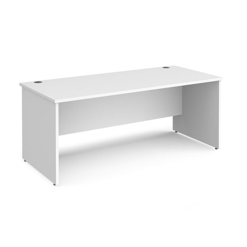 Maestro 25 straight desk 1800mm x 800mm - white top with panel end leg