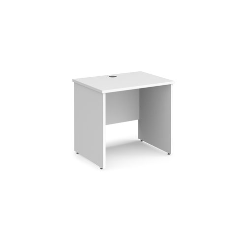 Maestro 25 straight desk 800mm x 600mm - white top with panel end leg