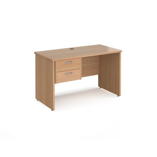 Maestro 25 straight desk 1200mm x 600mm with 2 drawer pedestal - beech top with panel end leg