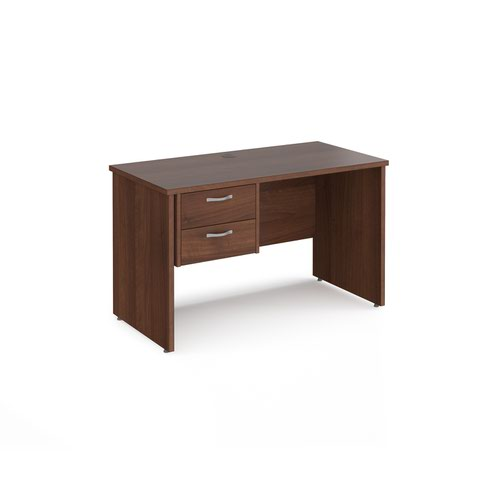 Maestro 25 straight desk 1200mm x 600mm with 2 drawer pedestal - walnut top with panel end leg