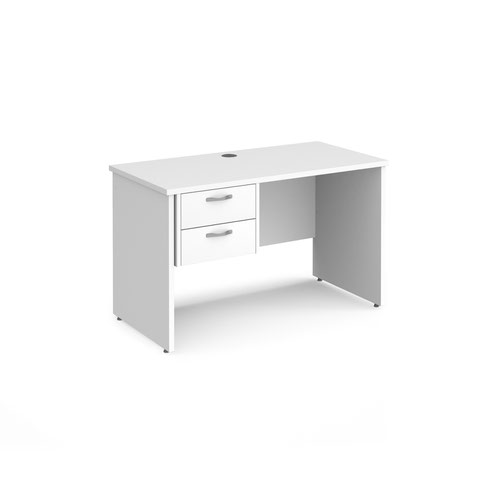 Maestro 25 straight desk 1200mm x 600mm with 2 drawer pedestal - white top with panel end leg