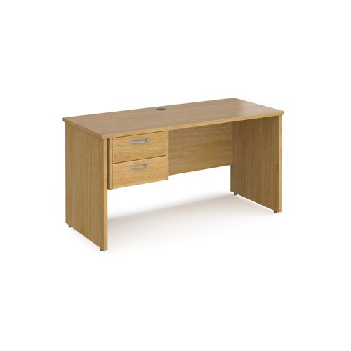 Maestro 25 straight desk 1400mm x 600mm with 2 drawer pedestal - oak top with panel end leg
