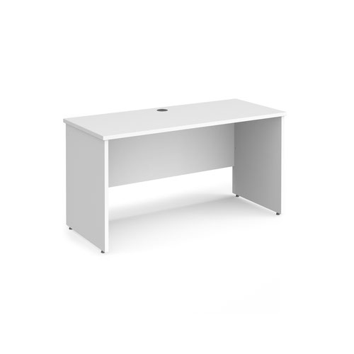 Maestro 25 straight desk 1400mm x 600mm - white top with panel end leg