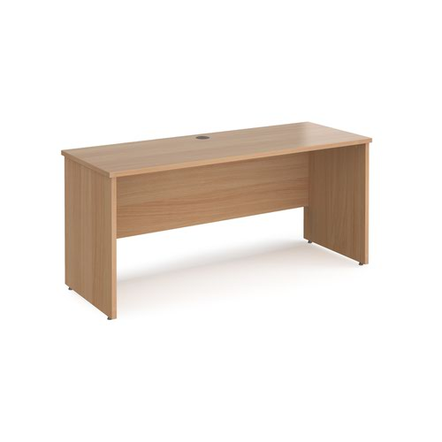 Maestro 25 straight desk 1600mm x 600mm - beech top with panel end leg