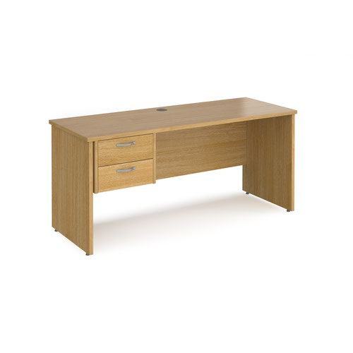 Maestro 25 straight desk 1600mm x 600mm with 2 drawer pedestal - oak top with panel end leg