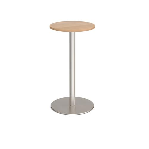Monza circular poseur table with flat round brushed steel base 600mm - beech