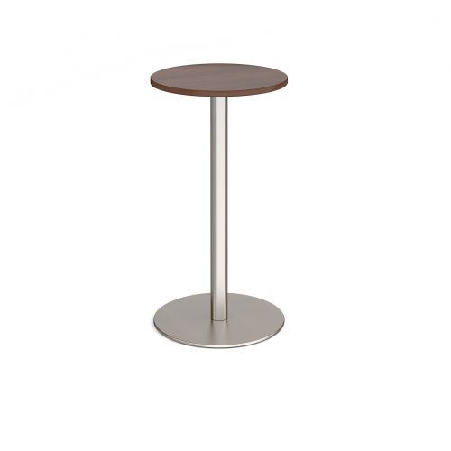 Monza circular poseur table with flat round brushed steel base 600mm - walnut