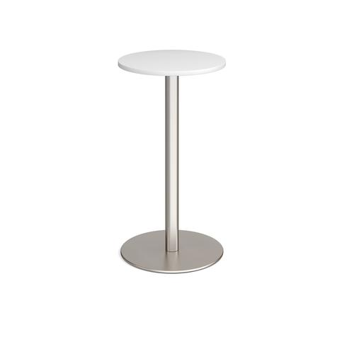 Monza circular poseur table with flat round brushed steel base 600mm - white