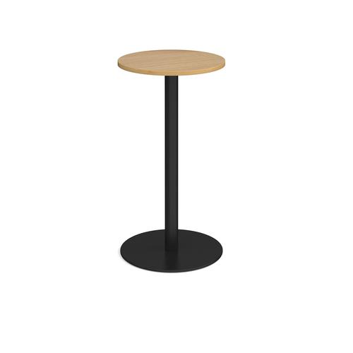 Monza circular poseur table with flat round black base 600mm - oak