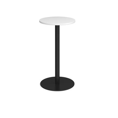 Monza circular poseur table with flat round black base 600mm - white