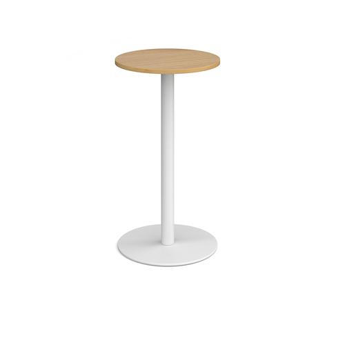 Monza circular poseur table with flat round white base 600mm - oak