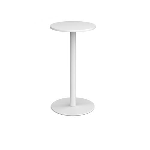 Monza circular poseur table with flat round white base 600mm - white