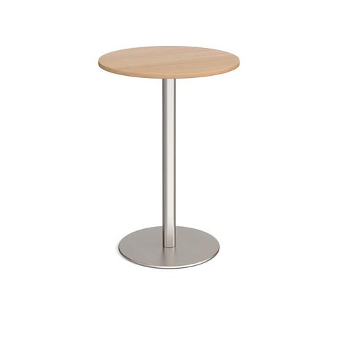 Monza circular poseur table with flat round brushed steel base 800mm - beech