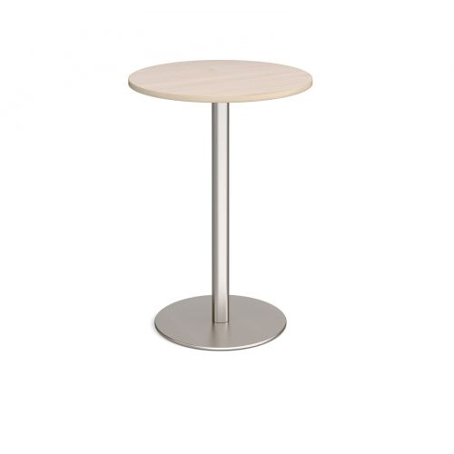Monza circular poseur table with flat round brushed steel base 800mm - maple