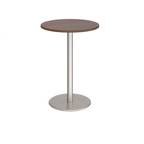 Monza circular poseur table with flat round brushed steel base 800mm - walnut