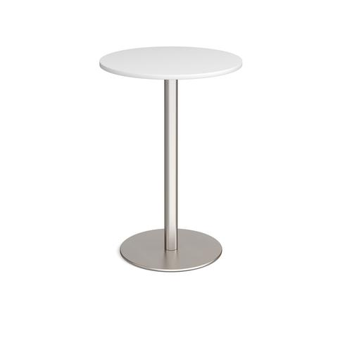Monza circular poseur table with flat round brushed steel base 800mm - white