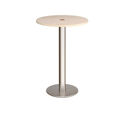 Monza circular poseur table 800mm with central circular cutout 80mm - maple