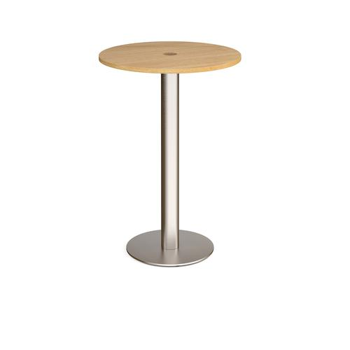 Monza circular poseur table 800mm with central circular cutout 80mm - oak