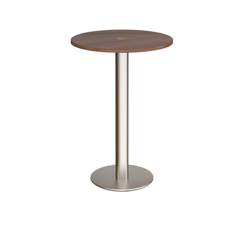 Monza circular poseur table 800mm with central circular cutout 80mm - walnut