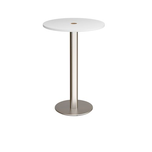 Monza circular poseur table 800mm with central circular cutout 80mm - white