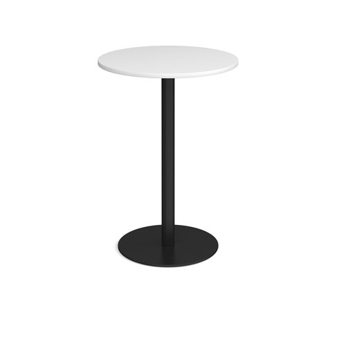 Monza circular poseur table with flat round black base 800mm - white