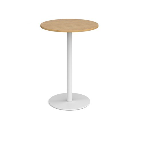 Monza circular poseur table with flat round white base 800mm - oak