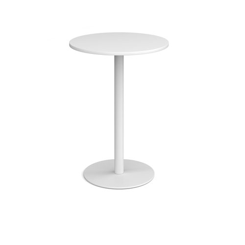 Monza circular poseur table with flat round white base 800mm - white