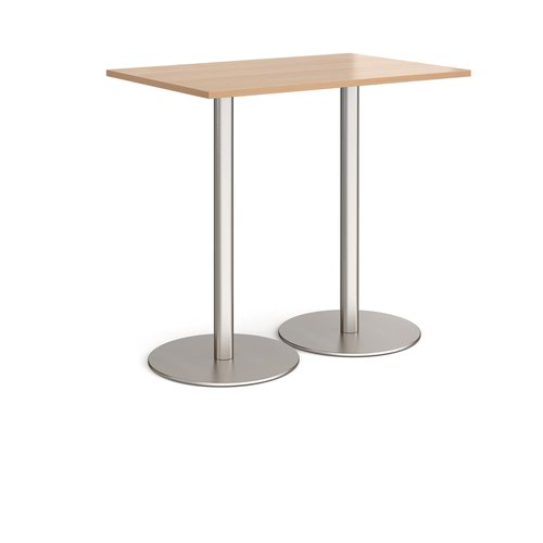 Monza rectangular poseur table with flat round brushed steel bases 1200mm x 800mm - beech