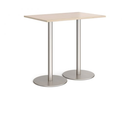 Monza rectangular poseur table with flat round brushed steel bases 1200mm x 800mm - maple