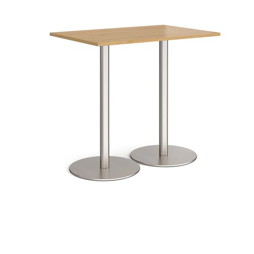 Monza rectangular poseur table with flat round brushed steel bases 1200mm x 800mm - oak