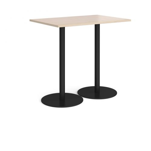 Monza rectangular poseur table with flat round black bases 1200mm x 800mm - maple