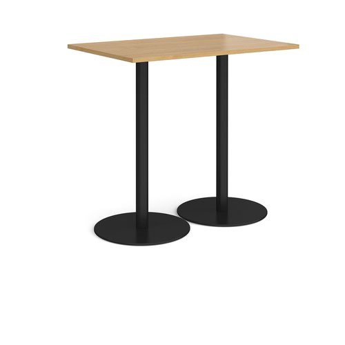 Monza rectangular poseur table with flat round black bases 1200mm x 800mm - oak