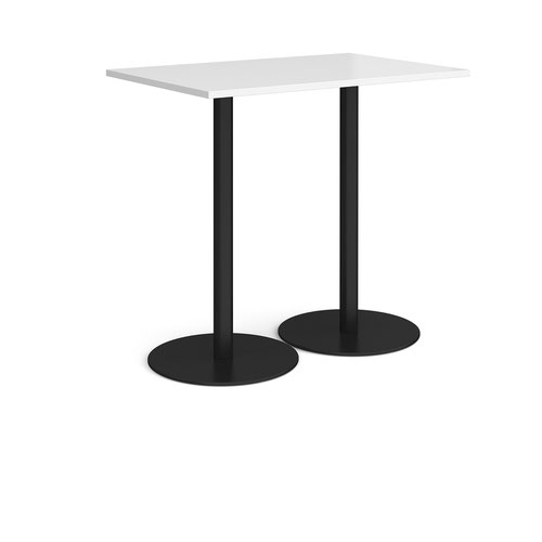 Monza rectangular poseur table with flat round black bases 1200mm x 800mm - white