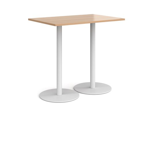 Monza rectangular poseur table with flat round white bases 1200mm x 800mm - beech