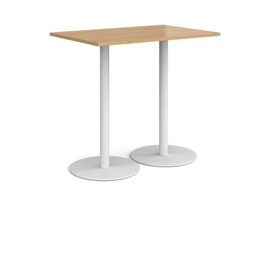 Monza rectangular poseur table with flat round white bases 1200mm x 800mm - oak