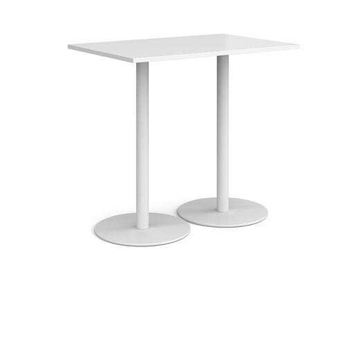 Monza rectangular poseur table with flat round white bases 1200mm x 800mm - white