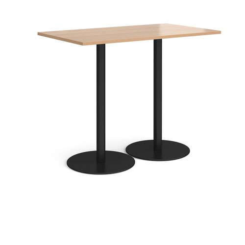 Monza rectangular poseur table with flat round black bases 1400mm x 800mm - beech