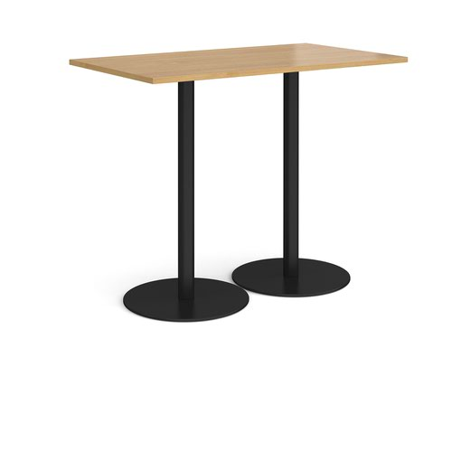Monza rectangular poseur table with flat round black bases 1400mm x 800mm - oak