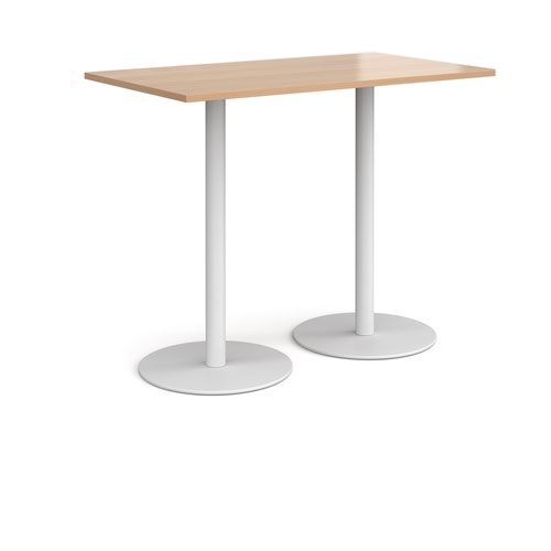 Monza rectangular poseur table with flat round white bases 1400mm x 800mm - beech